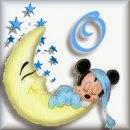 Alfabeto de Mickey Bebé durmiendo en la luna O.
