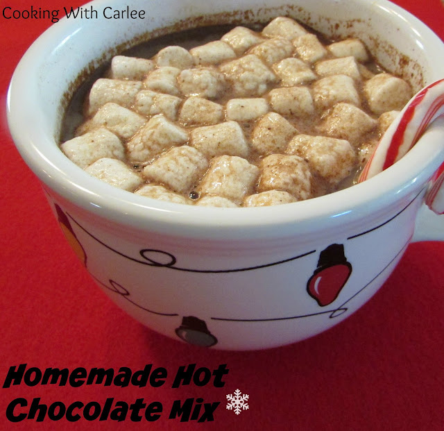 This hot chocolate mix is easy to make and is so creamy and delicious.  You can put it in jars to give as gifts or just keep in on hand for yourself!
