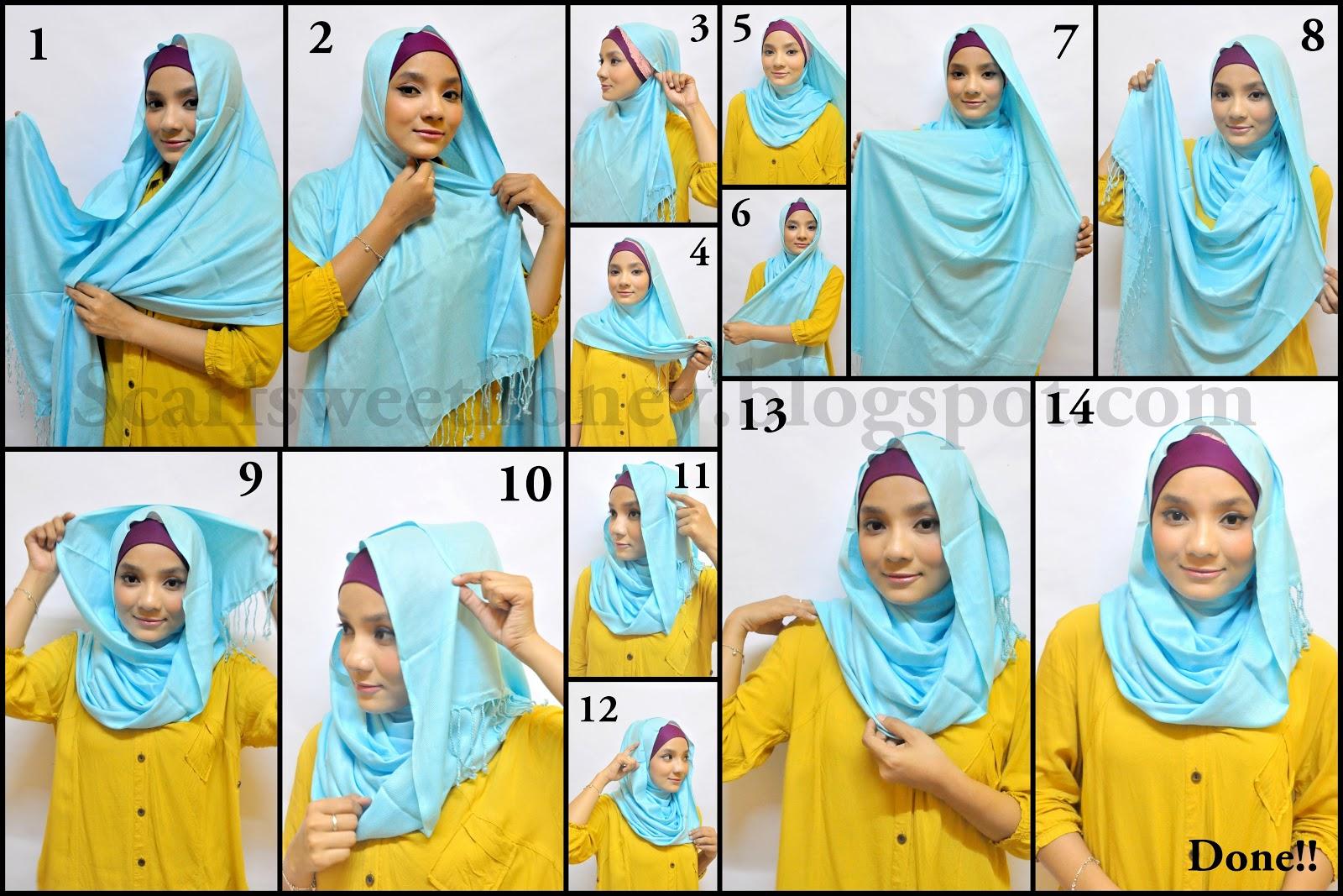 26 Gambar Terbaru Tutorial Hijab Ima Scarf Simple Paling