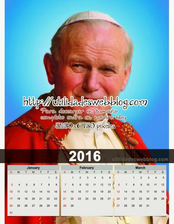 Calendario católico trimestral 2016 enero febrero marzo para imprimir del Papa Juan Pablo II