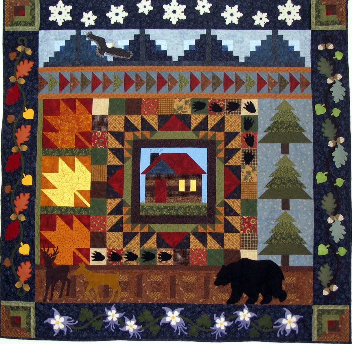 white vintage quilt pattern cabin printed cabins quilts blue hand pin selkirk log history