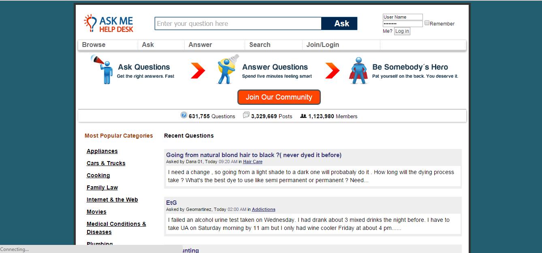 Askmehelpdesk website similar to yahoo answers