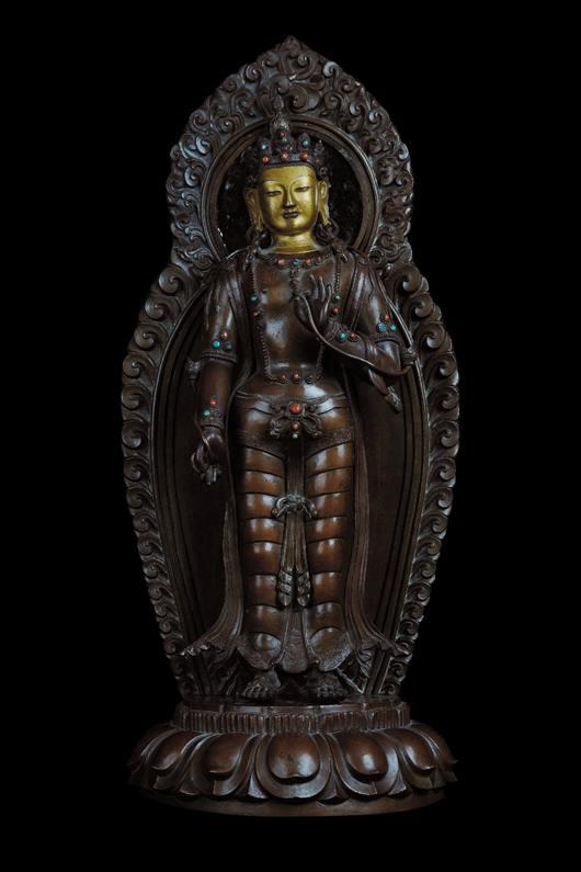 large 18th C. Bodhisattva bronze