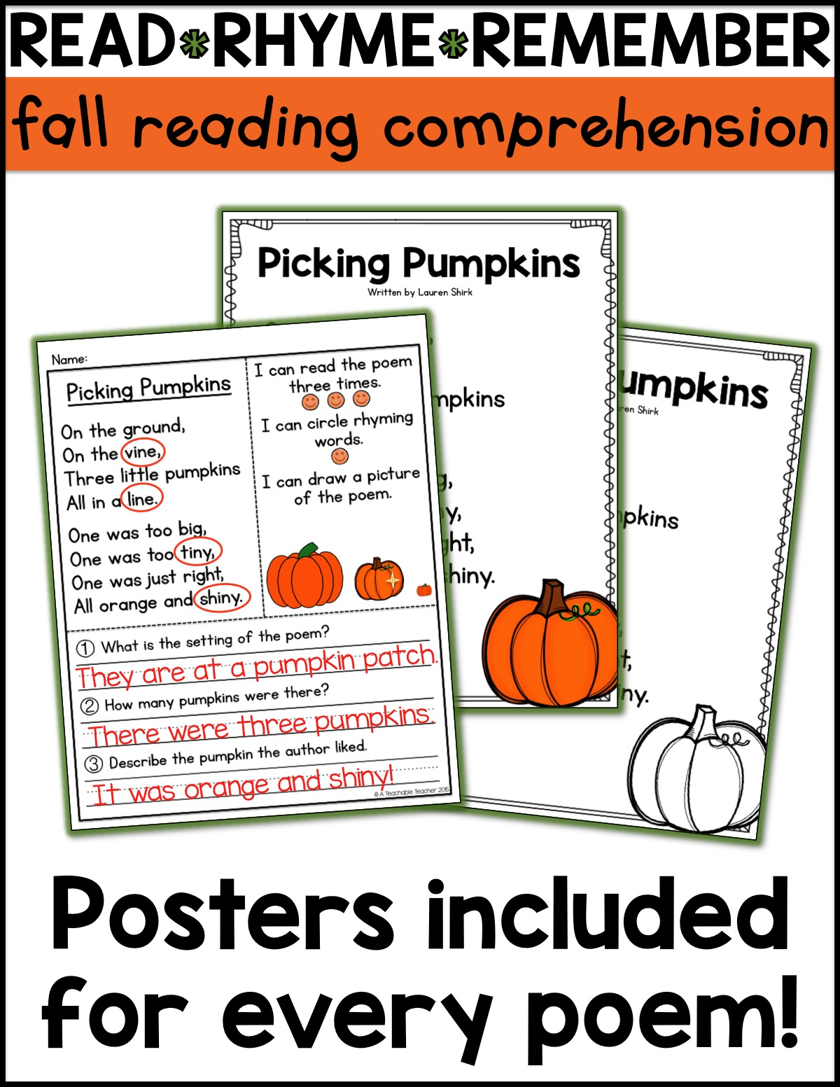 Worksheet Comprehension Activities free candy corn reading activities a teachable teacher i have made two of the poems and corresponding comprehension for you click here to grab them