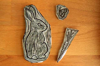 Bunny Linocut Stamps