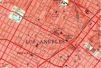 Detail of 1953 USGS map of Los Angeles