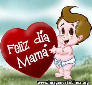 Feliz día mama, bebe con corazón