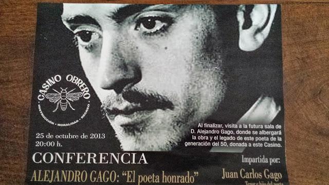 imagen del poeta alejandro gago en el cartel anunciador de la conferencia de su hijo en el casino