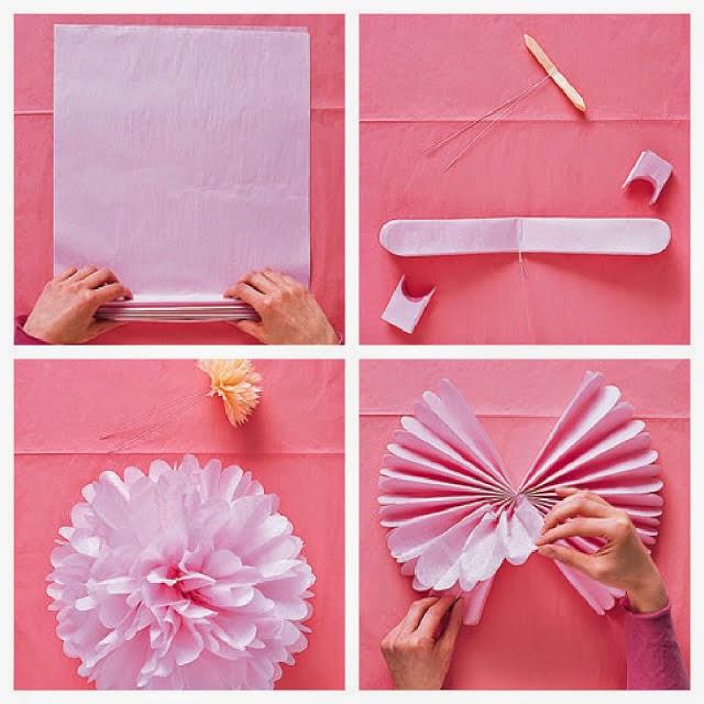 Decoraci n de exterior con guirnaldas de pompones de papel - Pompones con papel de seda ...