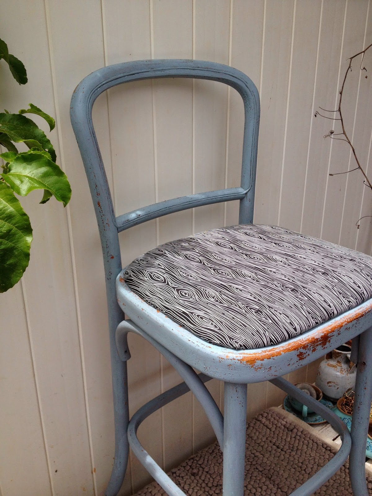 Rattan Ironstone Blue Chippy Chair before and after milk paint