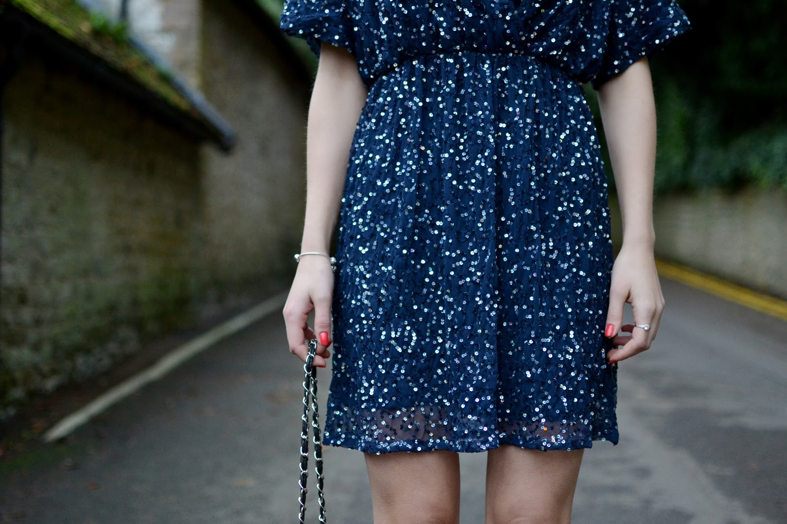 ASOS sequin kimono dress in navy