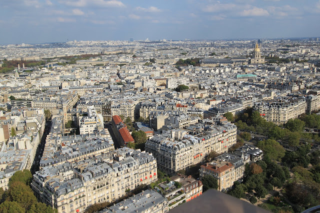 Top view of Paris downtown from different angle from the Eiffel Tower in Paris, France