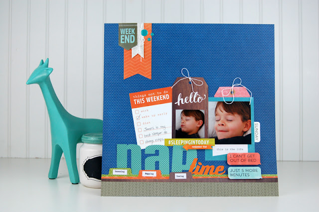 Nap Time #scrapbooking layout by Jen Gallacher designed for Scrapbook & Cards Today Magazine. Includes how to video: http://jengallacher.blogspot.com/2015/10/video-how-to-add-tabbed-files-to.html