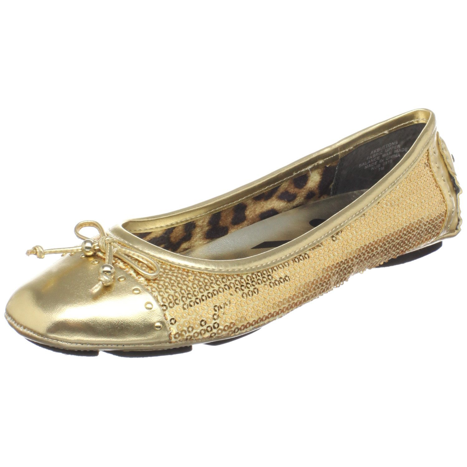 gold flat shoes for