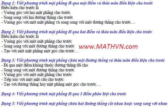 Cac dang Toan viet phuong trinh mat phang