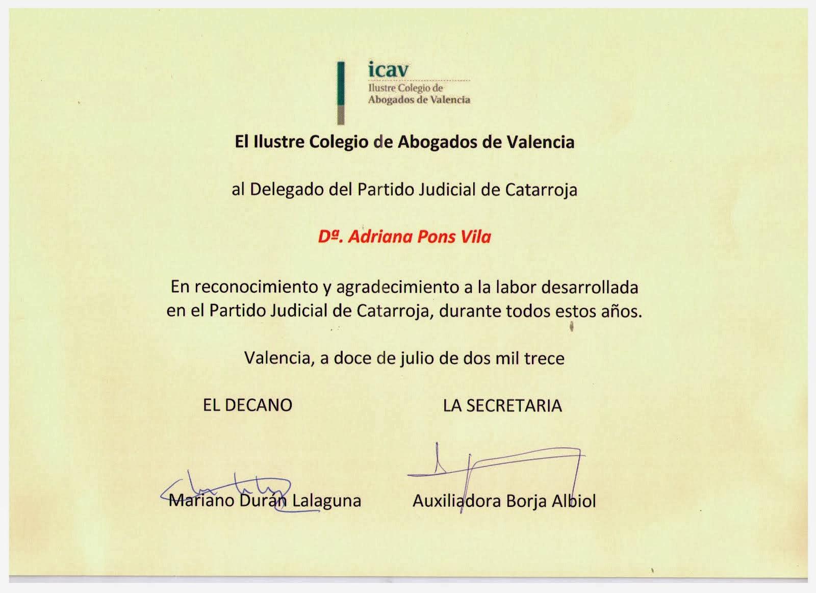 Reconocimiento profesional a la labor de Delegada del ICAV en Partido Judicial de Catarroja.