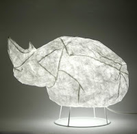 Tyvek inflatable rhino lamp