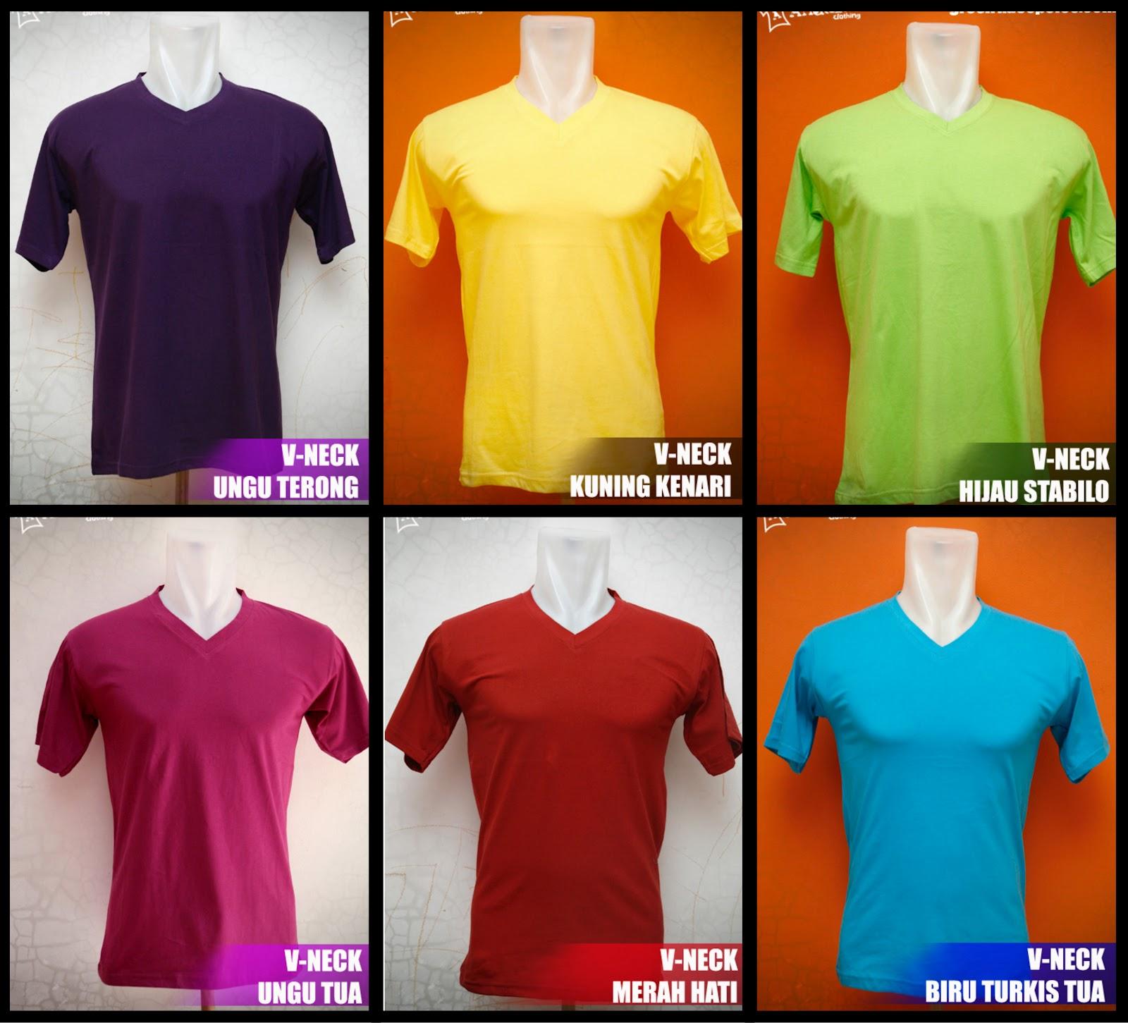 Desain Baju Online V Neck Cotton Combed 20s N 30s Kaos Polos Coklat