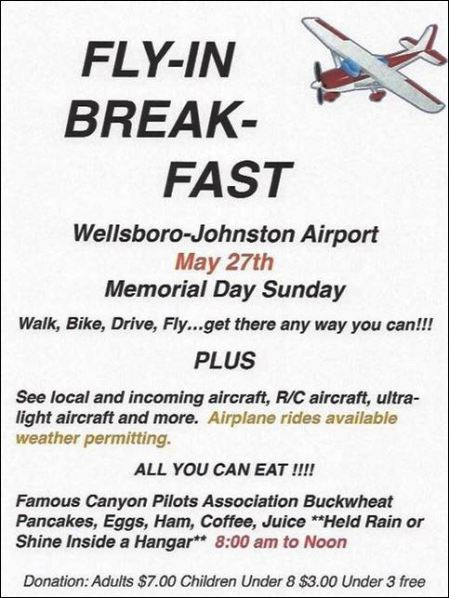 5-27 Memorial Day Fly In Breakfast, Wellsboro