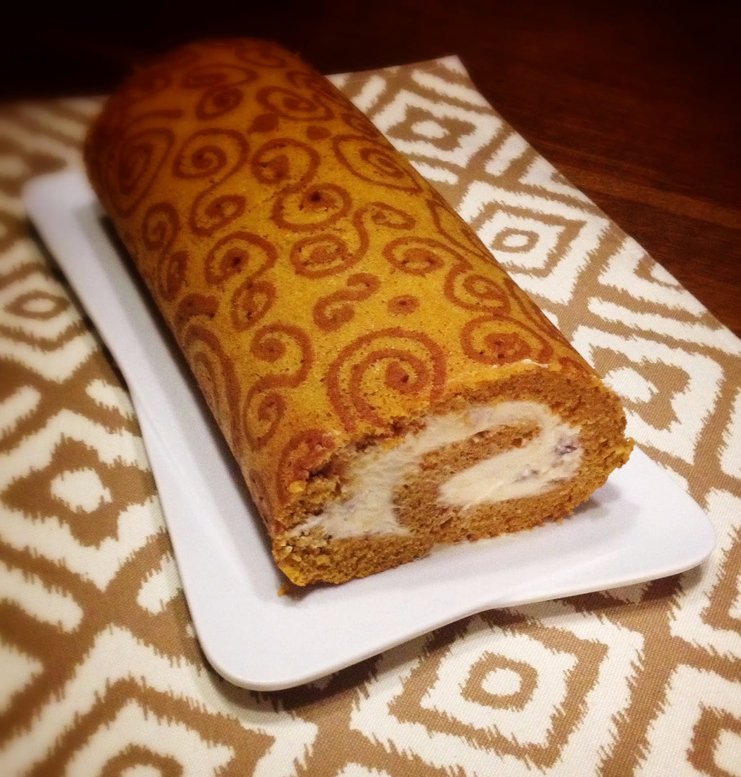 ... of a Condo Cook: Pumpkin Cake Roll with Toffee Cream Cheese Filling