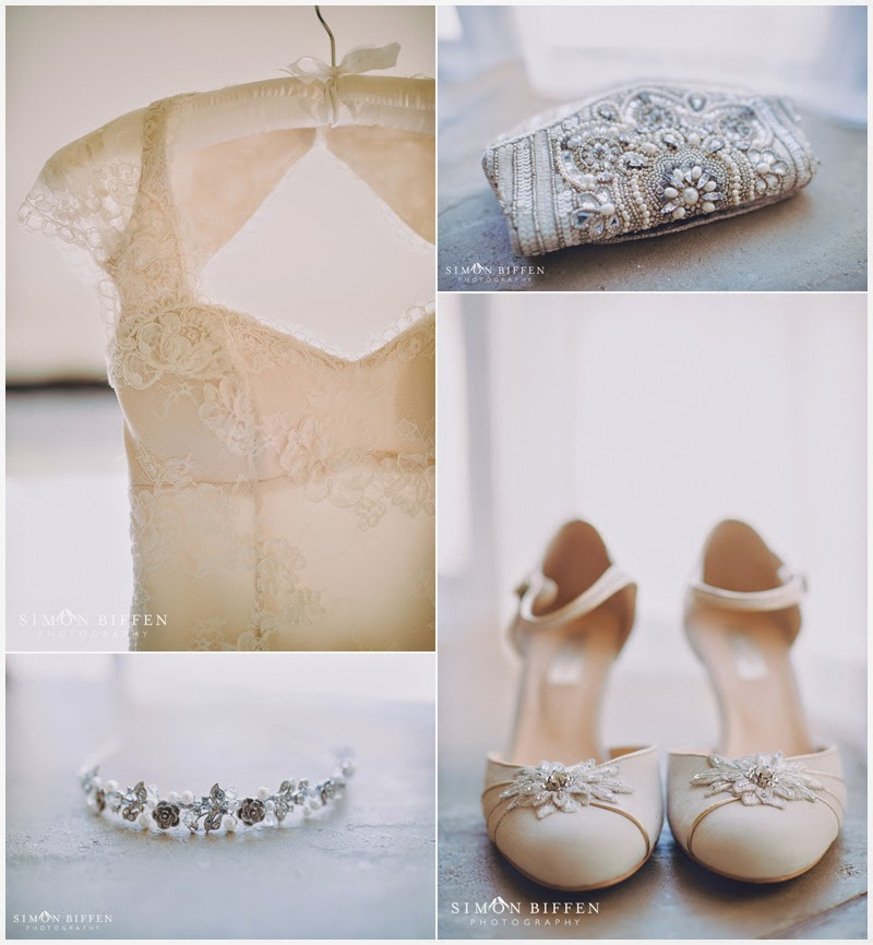 Bridal dress, shoes and jewellery