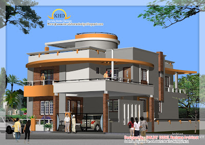 Duplex House Plan and Elevation   Kerala home design and floor plans