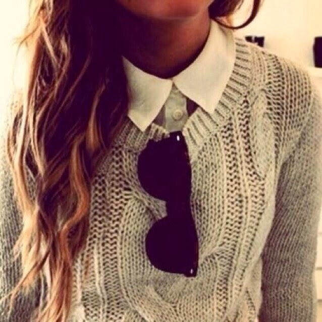 Combination of White Woman Shirt and Suitable Sweater with Black Glasses