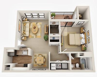 Departamentos peque os planos y dise o en 3d construye for Decoracion moderna departamentos pequenos