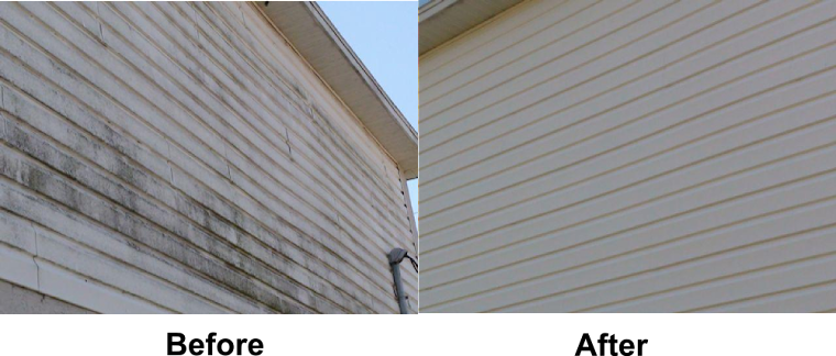Dirty vynil siding cleaned, before and after, Long Island NY