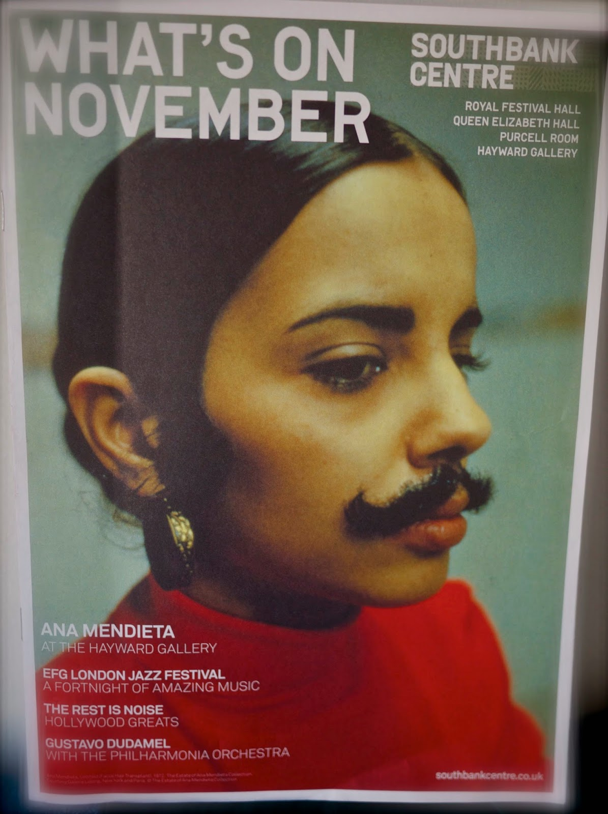 Cover of SBC's November 2013 programme devoted to Ana Mendieta, Cuban-American conceptual artist and pioneering photo self-portraitist