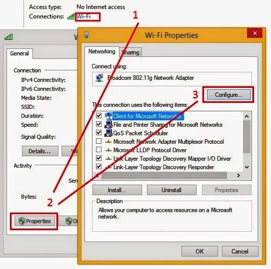 Khắc phục vấn đề WiFi không ổn định trên laptop cài Windows 8.1