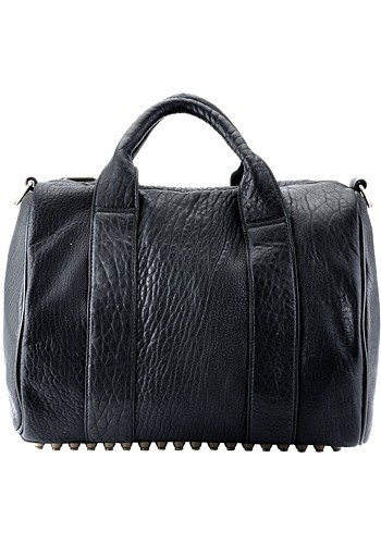 Alexa Studded Calfskin Leather Bag Black
