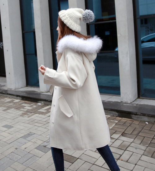 Basic Hooded Coat with Fur Ruff