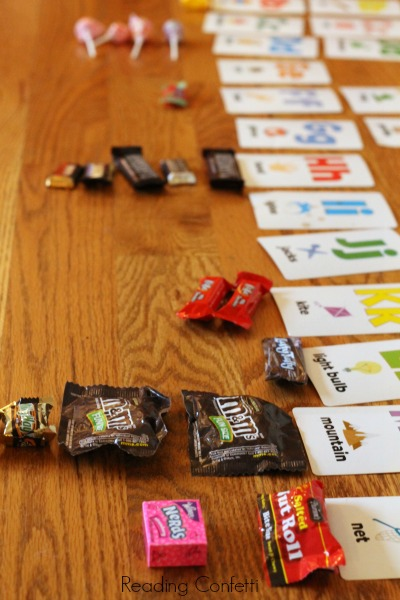 Use leftover Halloween candy as an easy letter recognition activity for preschoolers