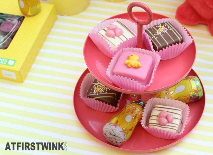 HEMA petit fours and chocolate chicks with metallic wrapper