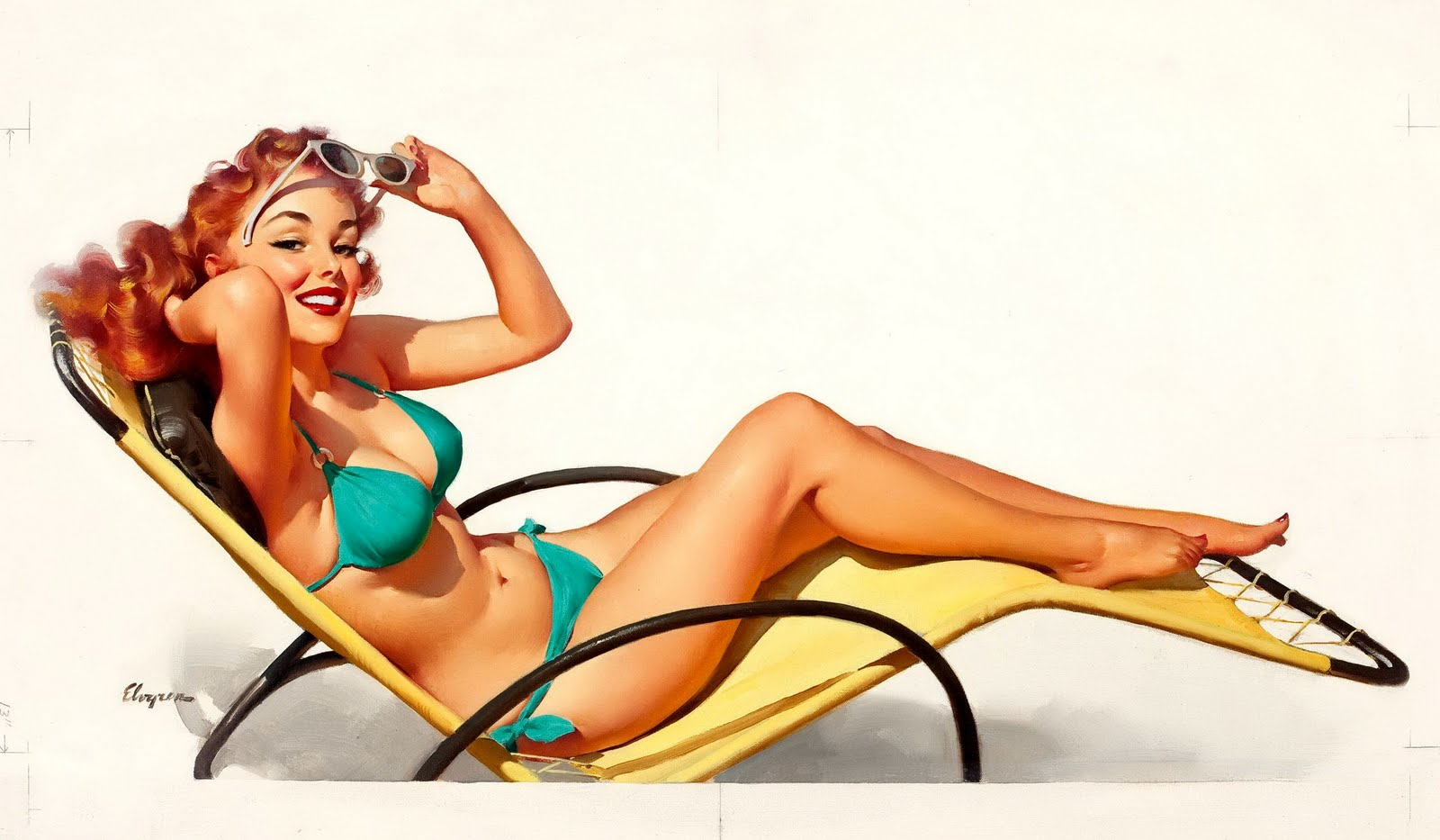 vintage beach pin up girl nude