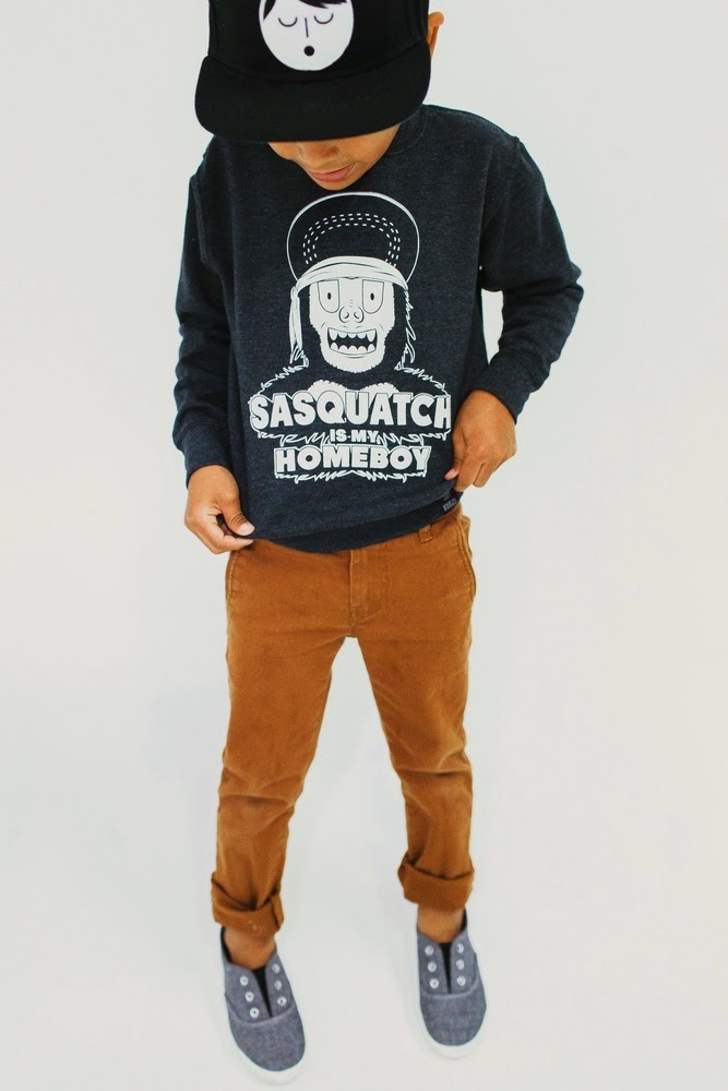 "Tiny Whales: kids sweatshirt ""SASQUATCH IS MY HOMEBOY"""