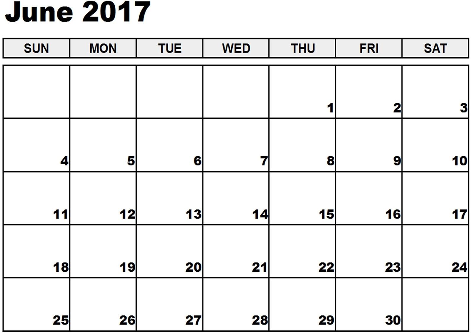 Blank Calendar June 2017 Printable – Printable Editable Blank 2017