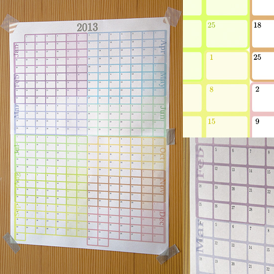 Photos of a wall calendar for 2013.