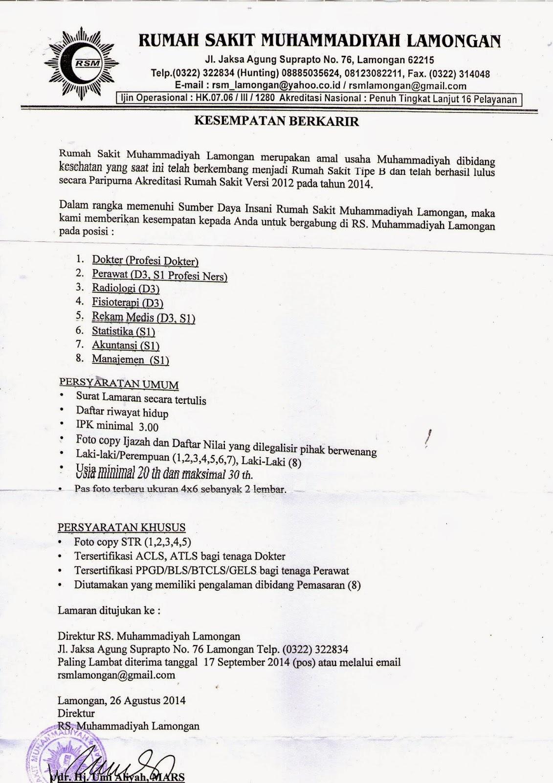 RSML MENGAJAK BERKARIR DI KOTA SOTO ~ Alumni Kedokteran