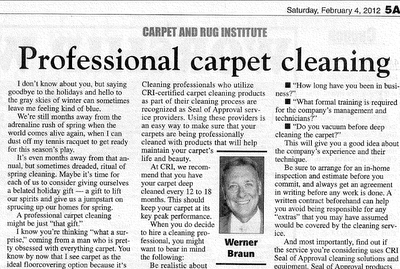 Consider Professional Carpet Cleaning Says Werner Braun