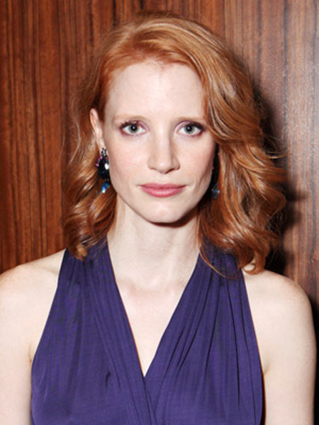 Jessica Chastain Round Face Shape Hairstyles
