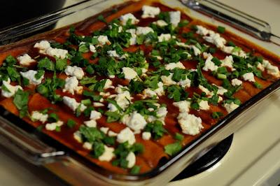 Cheese Enchiladas with Queso Fresco, Scallions, and Cilantro - Photo by Taste As You Go