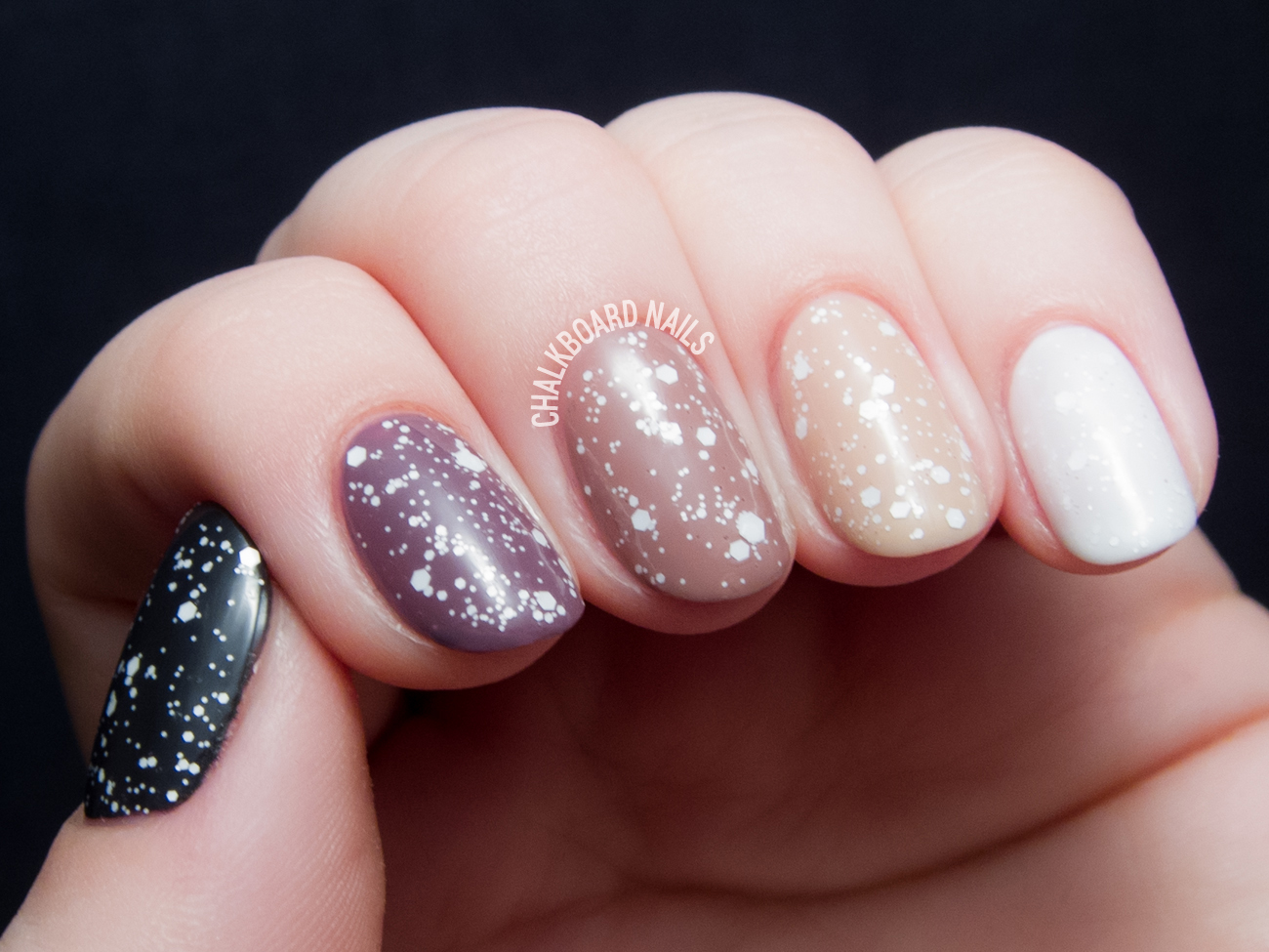 Nude And Mauve Ombre With Lacy Glitter Chalkboard Nails Nail Art