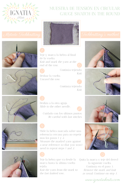 How to knit a gauge swatch in the round, Techknitting's method, by Ignatia Knits