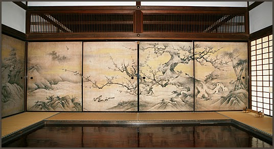 Panel fusuma dan shoji pada ruang tamu