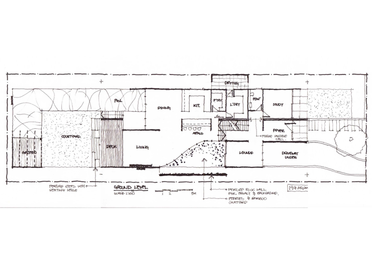 Ground floor plan of Beautiful Box House by Zouk Architects