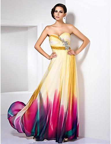 Vestido de noche gasa colores alegres