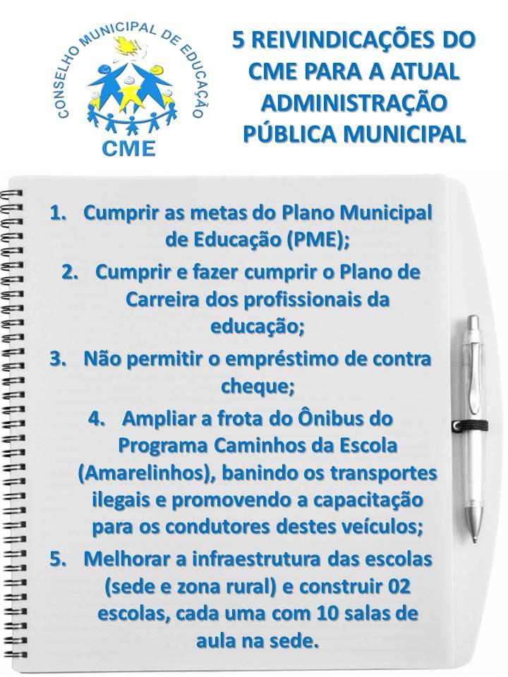 5 Propostas do CME para melhorar a Educação Municipal