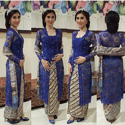 model kebaya terbaru modern warna biru broklat rok batik